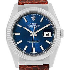 Rolex Datejust 116139 18K White Gold Blue Dial 36mm Mens Watch