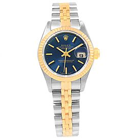Rolex Datejust 79173 Stainless Steel & 18K Yellow Gold Blue Dial 26mm Womens Watch
