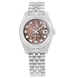 Rolex Datejust 179174 Stainless Steel Mother of Pearl Diamond Dial Automatic 26mm Womens Watch