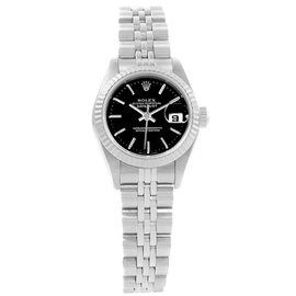 Rolex Datejust 69174 Stainless Steel & Black Dial 26mm Womens Watch