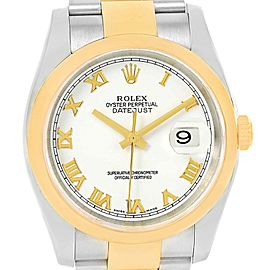 Rolex Datejust 116203 Stainless Steel and Yellow Gold White Roman Dial 36mm Mens Watch