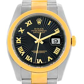 Rolex Datejust 116203 Stainless Steel / 18K Yellow Gold Black Dial 36mm Mens Watch