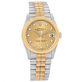 Rolex Datejust President Tridor 68279 18K White, Pink, Yellow Gold 31mm Womens Watch