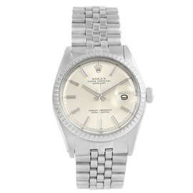 Rolex Datejust 1603 Stainless Steel & Silver Baton Dial Vintage 36mm Mens Watch