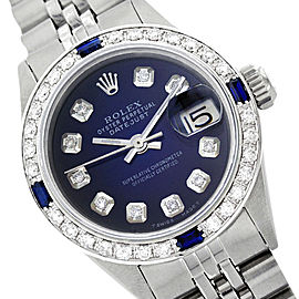 Rolex Datejust 69174 Stainless Steel, Diamond and Sapphire 26mm Womens Vintage Watch