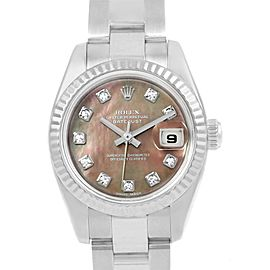 Rolex Datejust 179174 Stainless Steel, Tahitian & 18K White Gold with Diamond Automatic 26mm Womens Watch