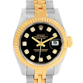 Rolex Datejust 179173 Stainless Steel & 18K Yellow Gold Black Diamond Dial 26mm Womens Watch