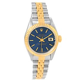 Rolex Datejust 69173 Stainless Steel & 18K Yellow Gold Blue Baton Dial 26mm Womens Watch