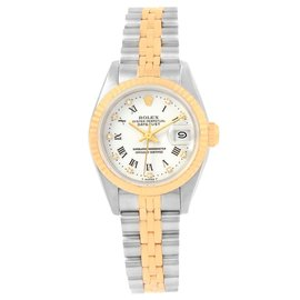 Rolex Datejust 69173 Stainless Steel & 18K Yellow Gold Roman Diamond Dial Automatic 26mm Womens Watch