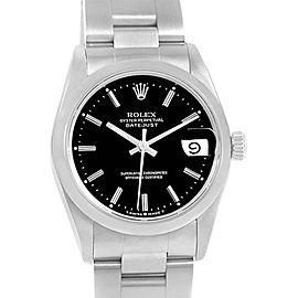 Rolex Datejust 68240 Stainless Steel Black Baton Dial 31mm Womens Watch