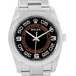 Rolex Oyster Perpetual 116000 Stainless Steel Black Brown Concentric Dial 36mm Mens Watch