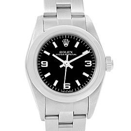 Rolex Oyster Perpetual 76080 Stainless Steel Black Dial Automatic 24mm Womens Watch