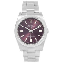 Rolex Oyster Perpetual 116000 Stainless Steel Red Grape Dial Automatic 36mm Unisex Watch