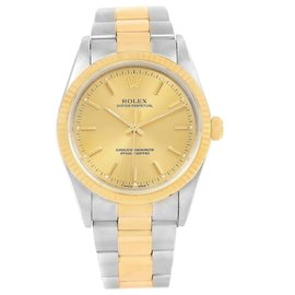 Rolex Oyster Perpetual NonDate 14233 Stainless Steel & 18K Yellow Gold 34mm Mens Watch