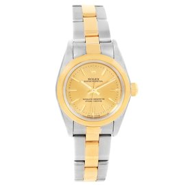 Rolex Oyster Perpetual Non-Date 76183 Stainless Steel Yellow Gold 24mm Automatic Women Watch