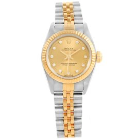Rolex Oyster Perpetual 67193 Stainless Steel and 18K Yellow Gold Diamond 24mm Automatic Women Watch