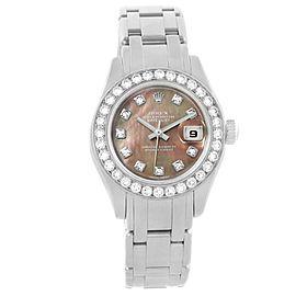 Rolex Pearlmaster Masterpiece 80299 18K White Gold 29mm Womens Watch
