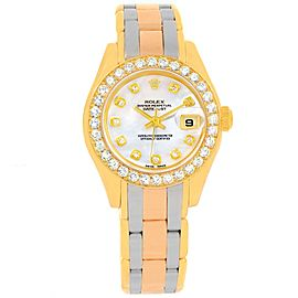 Rolex Pearlmaster 69298 Yellow White and Rose Gold 29mm Womens Watch