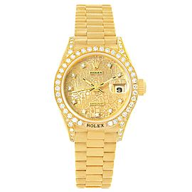 Rolex President Datejust 69158 18K Yellow Gold with Diamond Automatic 26mm Womens Watch