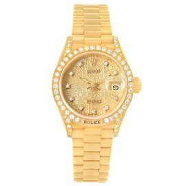 Rolex President Crown 69158 18K Yellow Gold Diamond 26mm Automatic Women Watch