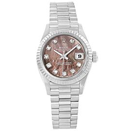 Rolex Datejust 69179 18K White Gold Tahitian Mother of Pearl Diamond Dial Automatic 26mm Womens Watch