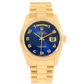 Rolex President 118238 Day-Date Blue Jubilee Dial 18K Yellow Gold 36mm Mens Watch