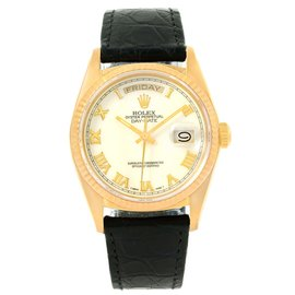 Rolex President Day-Date 18038 18K Yellow Gold White Roman Dial Automatic 36mm Mens Watch