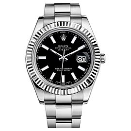 Rolex Datejust II 116334 Steel 18K White Gold Black Dial Mens Watch