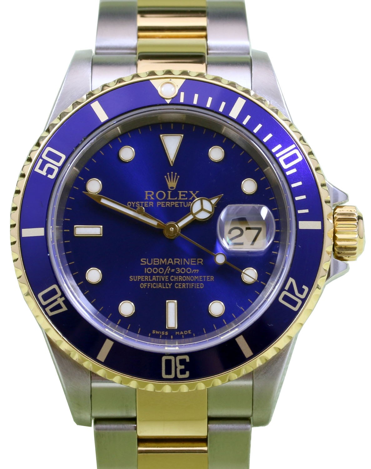 Rolex Submariner 16613 Blue Date 40mm 18k Yellow Gold Stainless Steel  Gold,Through Clasp