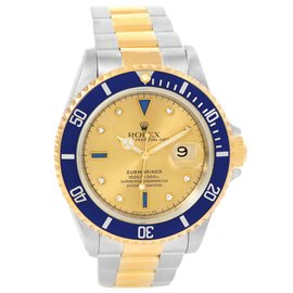 Rolex Submariner 16613 Stainless Steel and 18K Yellow Gold Diamond 40mm Automatic Mens Watch