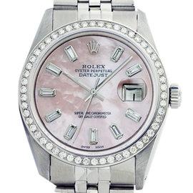 Rolex Datejust 16014 36mm Stainless Steel Pink MOP Diamond Baguette Watch