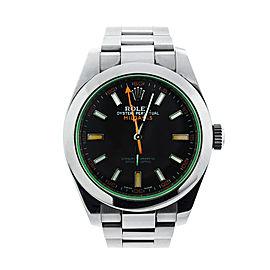 Rolex Milgauss 116400V Green Crystal Steel 40mm Watch