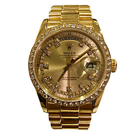 Rolex Men's President Day-Date 18K Yellow Gold Diamond Bezel & Champagne Diamond Dial Watch