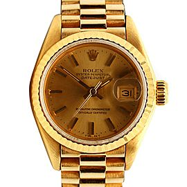Womens Rolex 18K Yellow Gold DateJust 28mm Watch