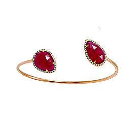 14K Rose Gold with 12.45ct Rose Cut Sliced Ruby & Diamonds Bangle Bracelet