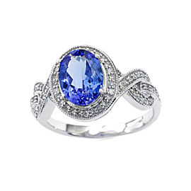 14k White Gold Tanzanite Ring Size 7