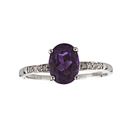 14K White Gold Amethyst and Diamond Birthstone Ring Size 7