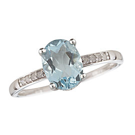 14K White Gold Aquamarine and Diamond Birthstone Ring Size 7
