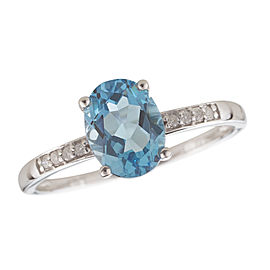 14K White Gold Swiss Blue Topaz and Diamond Birthstone Ring Size 7