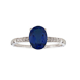 14K Yellow Gold Sapphire and Diamond Birthstone Ring Size 7