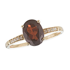 14K Yellow Gold Garnet and Diamond Birthstone Ring Size 7