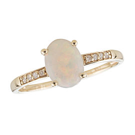 14K Yellow Gold Opal and Diamond Birthstone Ring Size 7