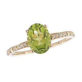 14K Yellow Gold Peridot and Diamond Birthstone Ring Size 7