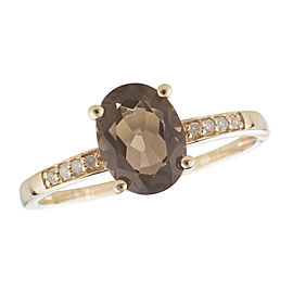 14K Yellow Gold Smoky Quartz and Diamond Birthstone Ring Size 7