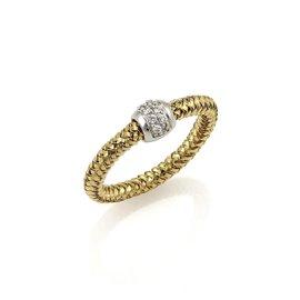 Roberto Coin Primavera Diamond 18K Yellow & White Gold Band Ring Size 6.25