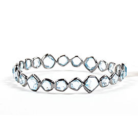"Ippolita 925 Sterling Silver Black Rhodium Blue Topaz Diamond ""Mini Hero"" Bangle Bracelet"