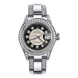 Rolex Datejust Stainless Steel Black Tuxedo Dial 26mm Womens Watch