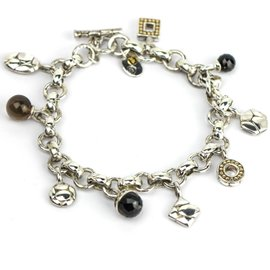 John Hardy 925 Sterling Silver and 18K Yellow Gold Toggle Charm Bracelet