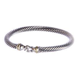 David Yurman 18K Yellow Gold 925 Sterling Silver Cable Buckle Bracelet