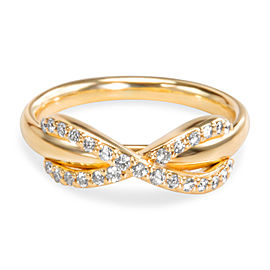 Tiffany & Co. Infinity 18K Yellow Gold with 0.13ctw Diamond Ring Size 2.5